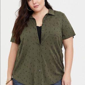 TORRID Olive Stretch Challis Button-Down Shirt